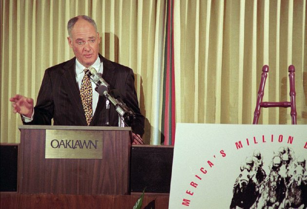 in-an-announcement-in-hot-springs-in-february-1998-oaklawn-president-charles-cella-announces-americas-million-dollar-dare-a-1-million-prize-for-the-winner-of-the-oaklawn-handicap-the-race-on-april-4-of-that-year-was-won-by-precocity-a-bob-baffert-horse-cella-helped-introduce-a-number-of-innovations-that-have-helped-draw-many-top-thoroughbreds-as-well-as-racing-fans-to-the-track