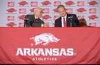 Arkansas chancellor Joseph Steinmetz (left) and new athletic director Hunter Yurachek at Yurachek's introductory press conference Wednesday, Dec. 6, 2017.