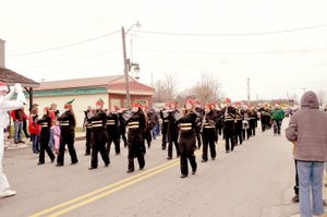 A marching band marched in the 2016 Goodman Christmas parade.