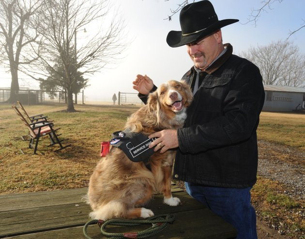 nwa-democrat-gazetteandy-shupe-jay-sanders-of-fayetteville-smiles-as-he-greets-ruby-a-service-dog-trained-by-marsha-wyatt-of-service-dogs-of-distinction-at-her-ranch-south-of-greenland-sanders-a-15-year-veteran-of-the-us-army-took-ruby-home-last-december-and-continued-her-training-service-dogs-of-distinction-is-one-of-many-in-northwest-arkansas-asking-the-community-for-support