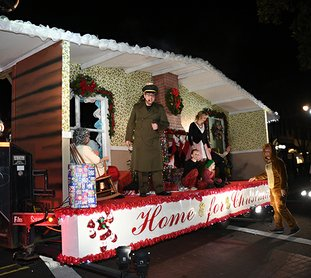 The Sentinel-Record/Mara Kuhn Magic Springs Theme & Water Park's float was this year's first-place winner during the annual Oaklawn Rotary Christmas Parade Tuesday night.