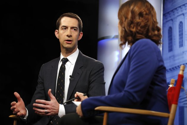 rep-tom-cotton-r-ark-is-interviewed-by-ap-washington-bureau-chief-julie-pace-thursday-dec-7-2017-at-the-ap-bureau-in-washington