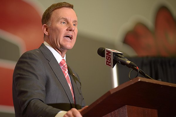 Arkansas coach Chad Morris speaks during a news conference Thursday, Dec. 7, 2017, in Fayetteville.
