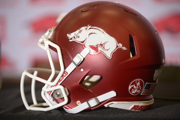 An Arkansas Razorback helmet at Chad Morris introductory press conference Thursday, Dec. 7, 2017.