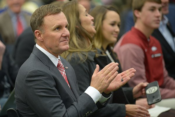 newly-hired-university-of-arkansas-football-coach-chad-morris-listens-thursday-dec-7-2017-during-a-press-conference-at-the-fowler-family-baseball-and-track-indoor-training-center-in-fayetteville