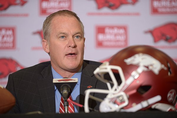 Hunter Yurachek, athletics director at the University of Arkansas, speaks Thursday, Dec. 7, 2017, during a press conference to introduce Chad Morris as the university's newly hired football coach at the Fowler Family Baseball and Track Indoor Training Center in Fayetteville.