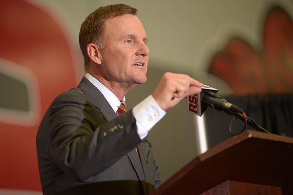 Newly hired University of Arkansas football coach Chad Morris speaks Thursday, Dec. 7, 2017, during a press conference at the Fowler Family Baseball and Track Indoor Training Center in Fayetteville.