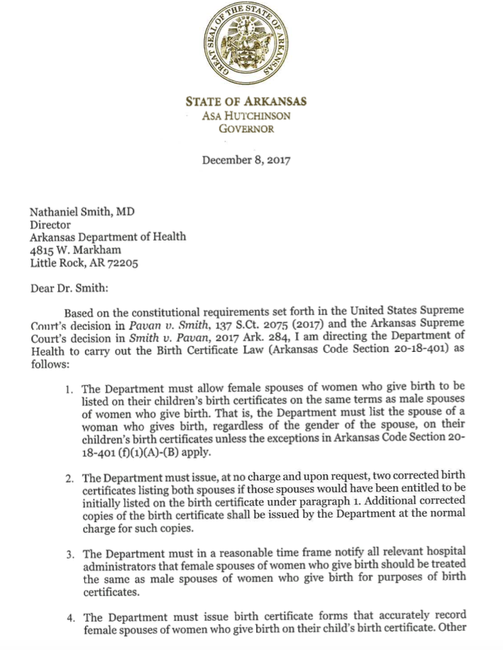 Injunction halting issuance of Arkansas birth certificates