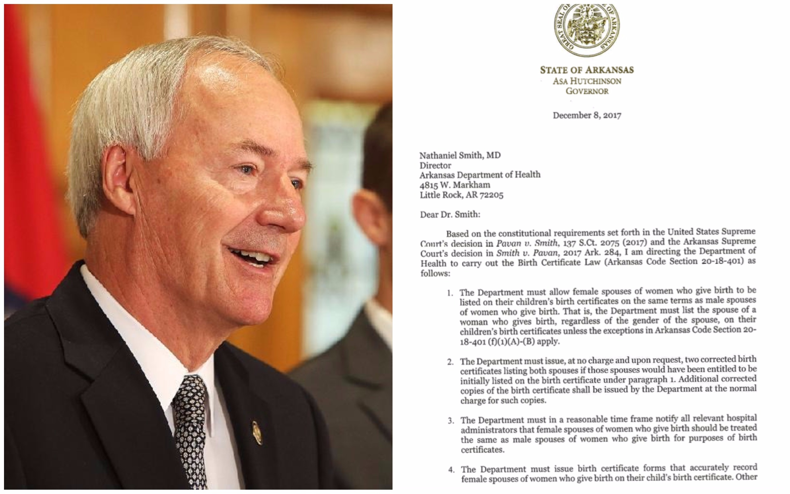Arkansas Governor Sets Birth Certificate Changes Agency Restarts