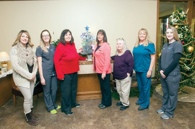 the-white-river-area-agency-on-aging-is-sponsoring-a-silver-angel-tree-program-this-year-in-jackson-county-the-trees-are-on-display-at-icare-pharmacy-and-merchants-and-planters-bank-in-newport-pictured-with-the-tree-at-merchants-and-planters-bank-are-from-left-tracy-baxter-white-river-area-agency-on-aging-mandy-rowland-icare-pharmacy-arlene-henry-wraaa-martha-edwards-merchants-and-planters-bank-mary-ritcheson-wraaa-tammi-grady-wraaa-and-sarah-chambliss-icare