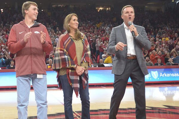 New Arkansas football coach Chad Morris address the crowd during the Minnesota basketball game Saturday, Dec. 9, 2017, during the first half in Bud Walton Arena.