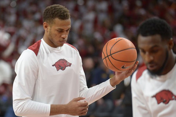 Arkansas freshman center Daniel Gafford warms up before making his first collegiate start against Minnesota Saturday, Dec. 9, 2017, in Bud Walton Arena.