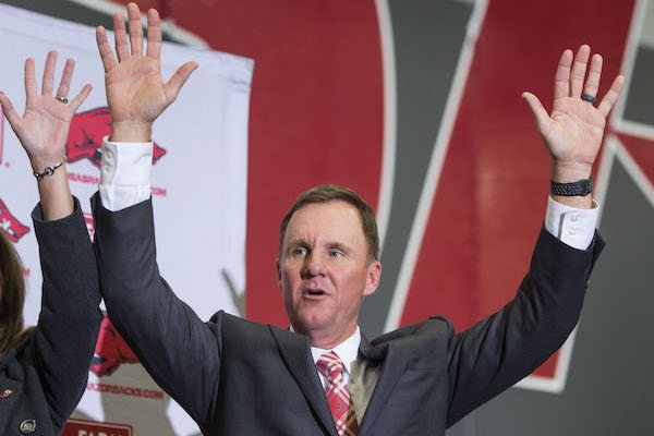 Chad Morris, newly hired Arkansas head football coach, calls the hogs Thursday, Dec. 7, 2017, during a press conference at the Fowler Family Baseball & Track Indoor Training Center in Fayetteville.