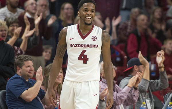 Arkansas guard Daryl Macon reacts after scoring during a game against Fresno State on Friday, Nov. 17, 2017, in Fayetteville.