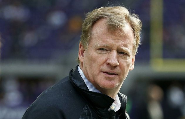 in-this-oct-15-2017-file-photo-nfl-commissioner-roger-goodell-watches-from-the-sidelines-before-an-nfl-football-game-between-the-minnesota-vikings-and-green-bay-packers-in-minneapolis