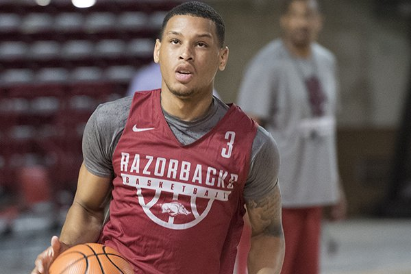 Arkansas guard Khalil Garland goes through practice Tuesday, Oct. 2, 2017, in Fayetteville.
