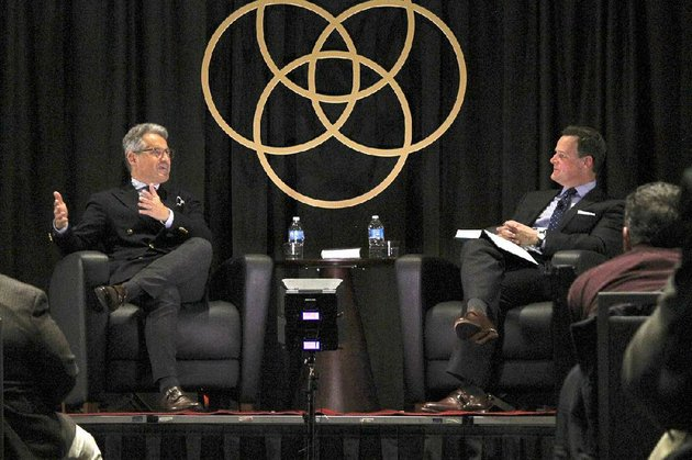 eric-metaxas-left-author-of-martin-luther-the-man-who-rediscovered-god-and-changed-the-world-and-steven-smith-senior-pastor-of-immanuel-baptist-church-in-little-rock-discuss-martin-luther-and-metaxas-event-series-socrates-in-the-city-during-the-inaugural-city-center-conversations-conversations-about-god-life-and-faith-in-the-city-event-on-tuesday
