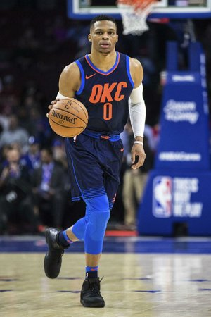 Russell Westbrook of the Oklahoma City Thunder scored 27 points in leading the Thunder to a 119-117 triple-overtime victory over the Philadelphia 76ers, but he didn't care for Sixers center Joel Embiid taunting Thunder center Steven Adams when Adams fouled out of the game.