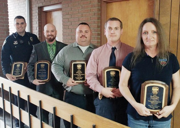 five-employees-of-the-searcy-police-department-were-honored-with-yearly-awards-during-its-christmas-party-dec-15-they-are-from-left-jason-denison-patrol-officer-of-the-year-josh-king-officer-of-the-year-nick-bright-outstanding-civilian-employee-of-the-year-adam-sexton-detective-of-the-year-and-tabatha-castera-dispatcher-of-the-year