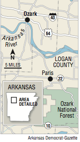 A map showing the location of Ozark.