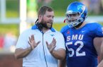 Dustin Fry spent three seasons as offensive line coach at SMU. Fry is expected to have the same position on Chad Morris' staff at Arkansas, but no hires have been officially announced one month after Morris was hired as head coach.