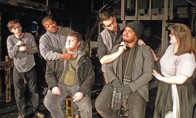 the-young-players-second-stage-will-present-sweeney-todd-the-demon-barber-of-fleet-street-through-jan-14-at-the-royal-theatre-in-benton-rehearsing-a-scene-featuring-a-shaving-contest-are-ethan-patterson-standing-from-left-who-appears-as-tobias-ragg-braxton-johnson-as-adolfo-pirelli-koty-mansfield-as-sweeney-todd-and-georgeann-burbank-as-mrs-lovett-and-seated-matt-glover-left-and-christian-waldron-who-are-members-of-the-ensemble