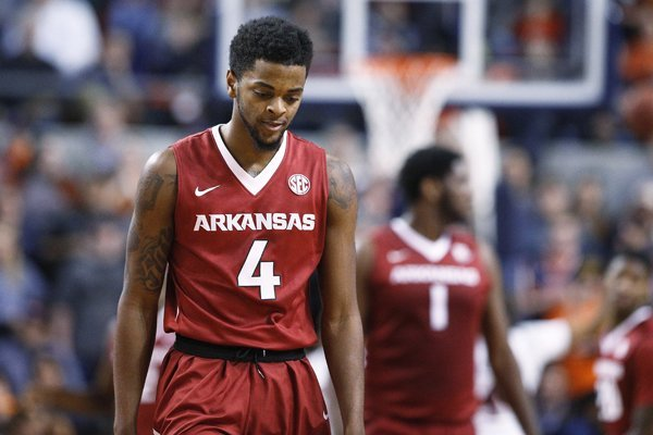 9ec11c62275 Arkansas guard Daryl Macon reacts to a play during the second half of the  team s NCAA
