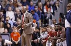 Arkansas head coach Mike Anderson reacts to a play during the second half of an NCAA college basketball game against Auburn, Saturday, Jan. 6, 2018, in Auburn, Ala.