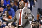 Arkansas coach Mike Anderson reacts to a play during the first half of the team's NCAA college basketball game against Auburn, Saturday, Jan. 6, 2018, in Auburn, Ala. Auburn won 88-77. (AP Photo/Brynn Anderson)