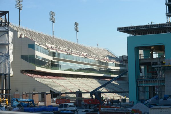 Construction continues Wednesday, Jan. 3, 2018, at Razorback Stadium on the University of Arkansas campus in Fayetteville.