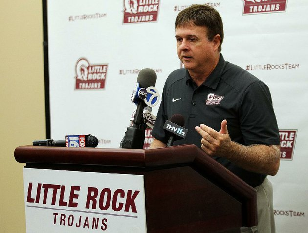university-of-arkansas-at-little-rock-womens-basketball-coach-joe-foley-talks-about-the-upcoming-basketball-season-during-the-trojans-media-day-on-thursday-oct-26-2017-at-ualr-jack-stephens-center-in-little-rock