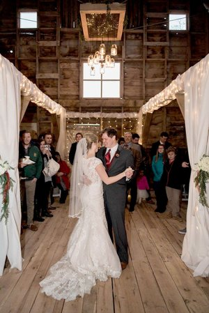 COURTESY PHOTO Hunter Vinson and his wife, Emily, have their first dance together as a married couple in the family barn in Farmington. The former dairy barn was remodeled and renovated at the request of the couple for their wedding reception. Now, the family is renting out the barn as a venue for various events.