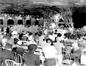 Photo submitted While the Wonderland Cave, originally opened in 1930 and finally closed in the early 1990s, was known for its nightclub activities featuring jazz bands and big-band music, it was also used on occasion for other purposes, such as what appears in this photograph to be a religious service. If anyone has any information about this photo, please call the Bella Vista Historical Museum at 479-855-2335, or email to bellavistamuseum@gmail.com.