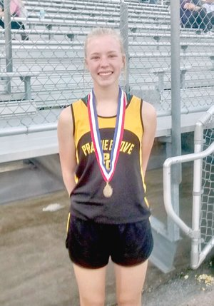 File Photo Prairie Grove's Beka Bostian won the 3200 meter state championship during the State 4A track and field meet held at Pocahontas May 2. She set the pace and her top rival, Gracie Hyde, of Lonoke, couldn't catch her at the finish. Bostian also won the Class 4A state cross country race Nov. 3 at Hot Springs.