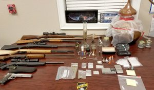 SUBMITTED Highfill Police Department shows items siezed in a Jan. 5 drug arrest from the home of Jason and Kimberly Vanhook.