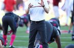 Mark Smith, shown in this file photo, is a defensive backs coach at Arkansas.