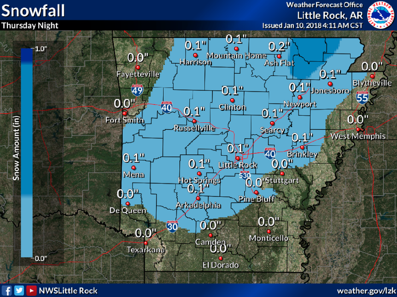 FULL OUTLOOK: Snow in forecast for portions of Arkansas ... on current temperature map, 24 hour snow map, us average annual snowfall map, snow prediction map, projected snowfall map, snowfall prediction map, snowfall weather map, snowfall potential map,