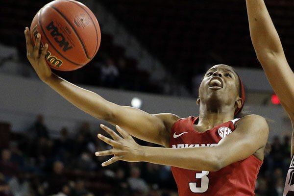 Malica Monk led Arkansas with 16 points in a 78-65 loss at Georgia. (AP Photo by Rogelio V. Solis)