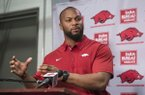 Arkansas strength and conditioning coach Trumain Carroll speaks during a news conference Wednesday, Jan. 10, 2018, in Fayetteville.