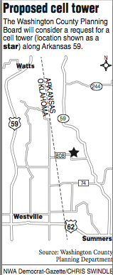 A map showing the location for a proposed cell tower