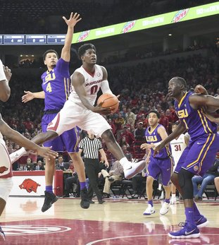 Special to The Sentinel-Record/Craven Whitlow STEPPING UP: Razorback senior guard Jaylen Barford (0) from Jackson, Tenn., goes up for two on his way to a game-leading 17 points in the Hogs 75-54 loss to LSU at Bud Walton Arena in Fayetteville Wednesday. Arkansas drops to 11-5 for the season and 1-3 in conference play before hosting Missouri Saturday.