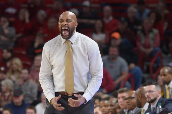 Missouri coach Cuonzo Martin directs his team against Arkansas Saturday, Jan. 13, 2018, during the second half in Bud Walton Arena.