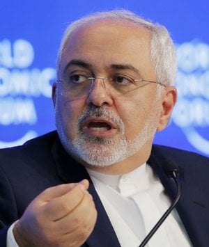 Iranian Foreign Minister Mohammad Javad Zarif speaks at the World Economic Forum in Davos, Switzerland, Tuesday, Jan. 17, 2017.