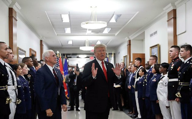 president-donald-trump-and-vice-president-mike-pence-visit-the-pentagon-on-july-20-trumps-administration-wants-to-develop-new-nuclear-weapons-and-present-a-generally-more-aggressive-nuclear-stance-according-to-a-policy-statement-that-in-some-ways-reaffirms-the-nuclear-policy-of-former-president-barack-obama