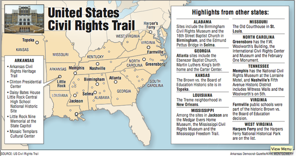 New U S  Civil Rights Trail includes Central High, 5 other