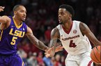 Arkansas guard Daryl Macon (4) looks to drive to the basket against LSU on Wednesday, Jan. 10, 2018, in Bud Walton Arena.