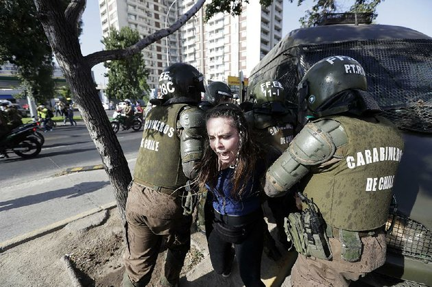 a-protester-of-pope-francis-visit-is-arrested-tuesday-in-santiago-chile-where-the-vaticans-handling-of-sexual-abuse-cases-has-provoked-criticism