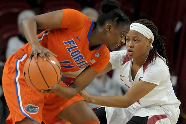 Arkansas' Raven Northcross-Baker defends Florida's Dyandria Anderson during a game Thursday, Jan. 18, 2018, in Fayetteville.