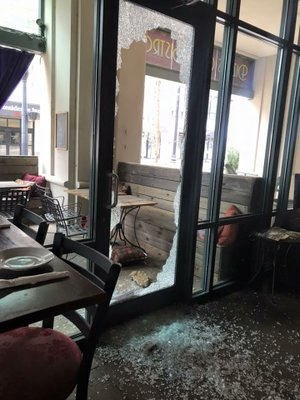 A glass door at Dizzy's Gypsy Bistro in downtown Little Rock was shattered in a break-in Thursday night, the restaurant said on Facebook.
