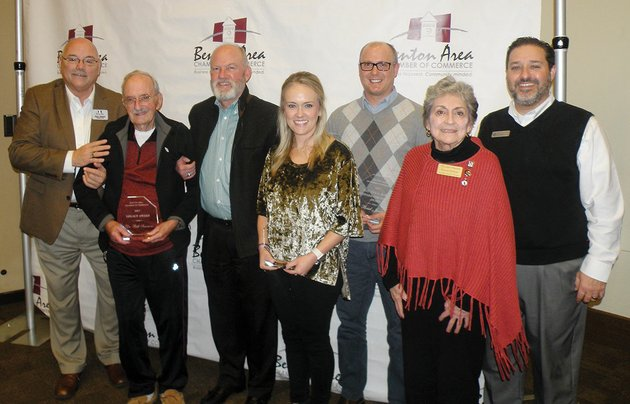 the-benton-area-chamber-of-commerce-honored-several-individuals-jan-11-at-its-annual-awards-lunch-at-the-benton-event-center-benton-chamber-presidentceo-gary-james-from-left-poses-with-award-winners-dr-bill-simmons-who-received-the-legacy-award-accompanied-by-his-son-dr-russell-rusty-simmons-brooke-plack-who-received-the-entrepreneurship-award-brad-jordan-who-received-the-then-now-and-toward-the-future-award-dorcas-holicer-who-received-the-citizen-of-the-year-award-and-jeff-richardson-2018-chairman-benton-chamber-board-of-directors-not-shown-is-mark-fikes-who-received-the-volunteer-of-the-year-award-the-benton-police-department-received-the-community-spirit-award-representatives-of-the-department-are-shown-elsewhere-in-todays-tri-lakes-edition